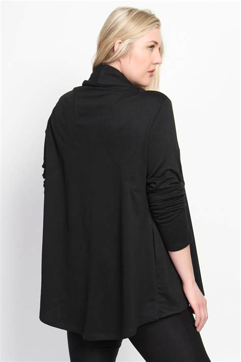 draped blazer themogan shawl cowl collar asymmetric zip front draped