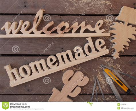 Handmade Wooden Sign - handmade wooden sign stock photo image 63077911