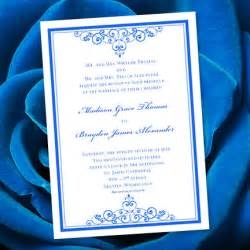 Royal blue wedding invitation template editable microsoft word