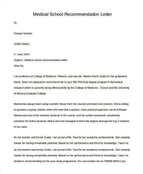 letters recommendation samples ms word