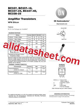 transistor bc337 datasheet pdf bc337 25 datasheet pdf on semiconductor