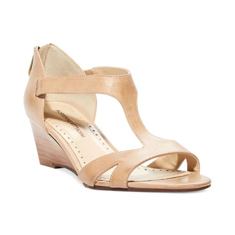 bone wedge sandals adrienne vittadini cissy mid wedge sandals in beige bone