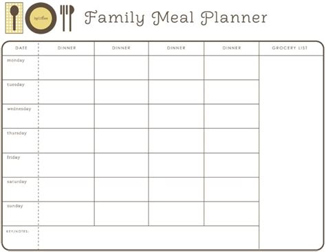 monthly dinner menu template 28 useful printable monthly meal planners baby