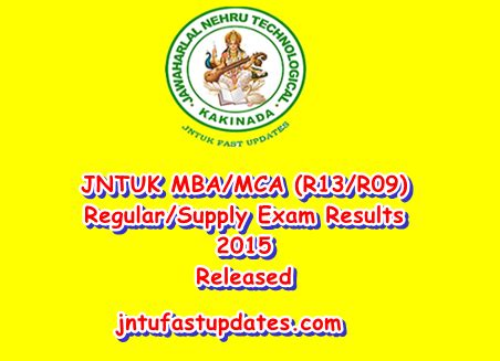 Jntuk Mba 4th Sem Results 2015 Manabadi by Jntuk Mba Mca R13 R09 1st Sem Regular Supply Results Feb