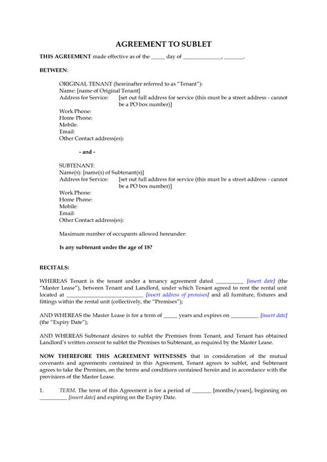 subletting contract template  printable documents