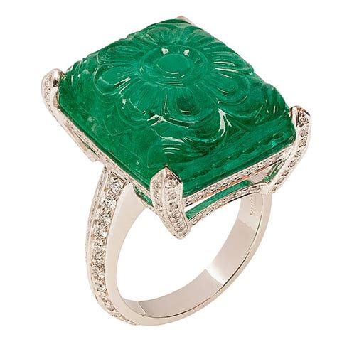 carved emerald ring for sale at 1stdibs
