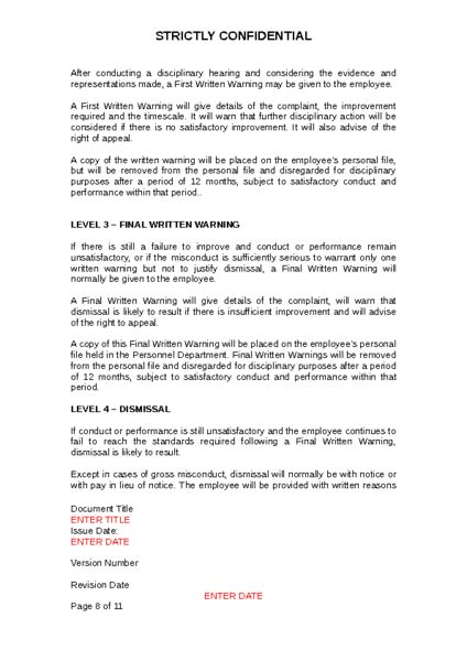 Disciplinary Procedure Policy to Download