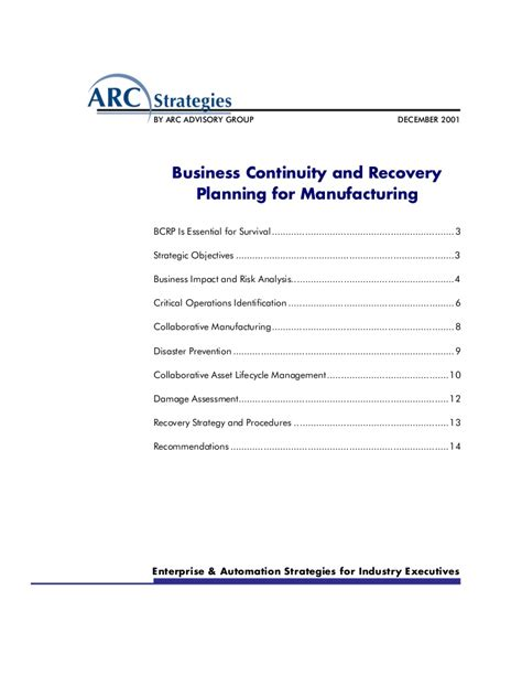 Business Continuity And Recovery Planning For Manufacturing Manufacturing Disaster Recovery Plan Template