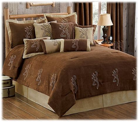 bass pro shop bedding browning buckmark embroidered suede collection comforter set