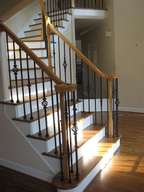 rod iron banister new hardwood staircase and wrought iron balusters spindles yelp