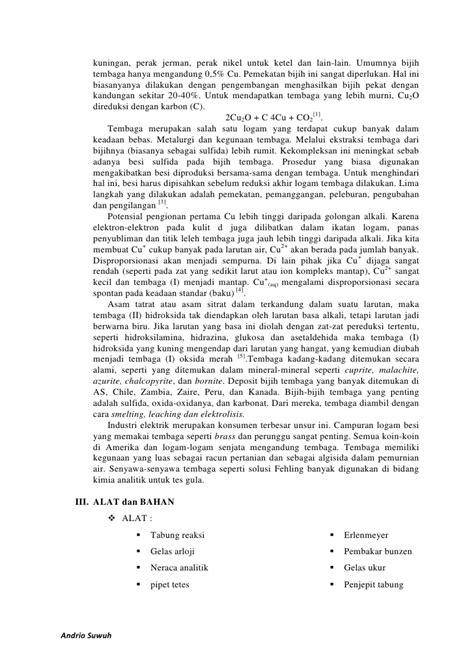 pembuatan laporan praktikum kimia laporan praktikum kimia anorganik ii kimia tembaga