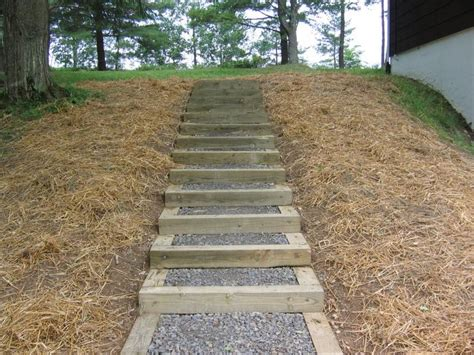 garden stairs steps with landscape timbers wooden steps diy
