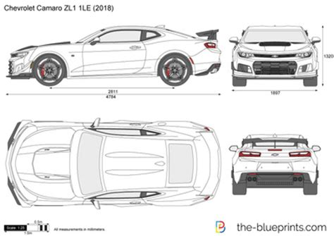chevrolet camaro zl1 1le vector drawing