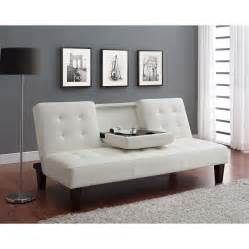dhp cup holder convertible futon sofa bed white