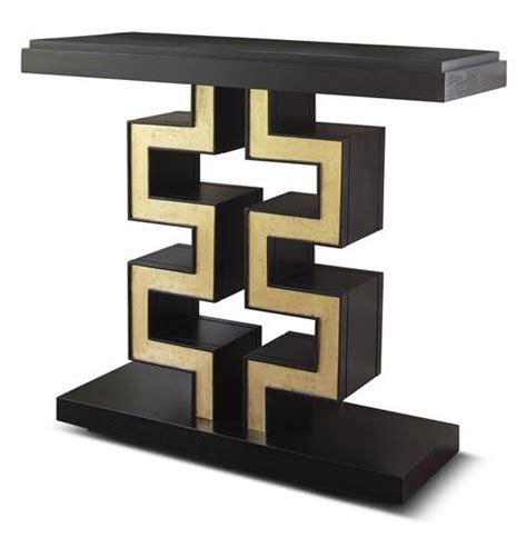 Black And Gold Table L by Maze Regency Black Gold Leaf Console Table