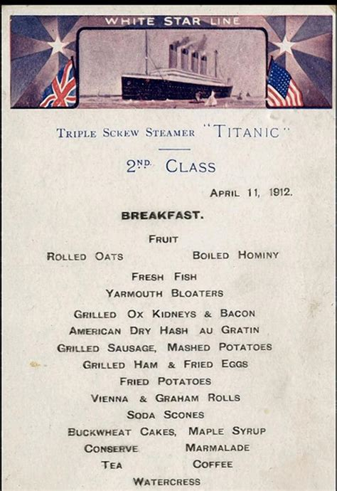 titanic second class menu menu from titanic s second class restaurant to be