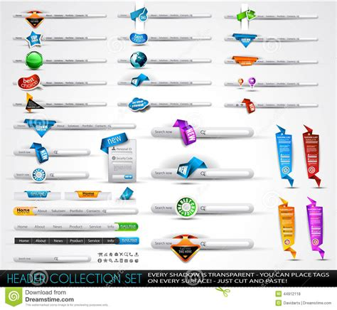 Big Collection Of Headers And Footers For Your Websites Stock Vector Image 44912118 Header Template