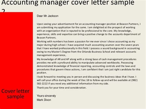 cover letter for accounting manager position accounting manager cover letter