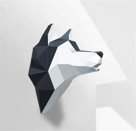 Origami Husky - wolf sculpture husky papercraft make your own paper wolf