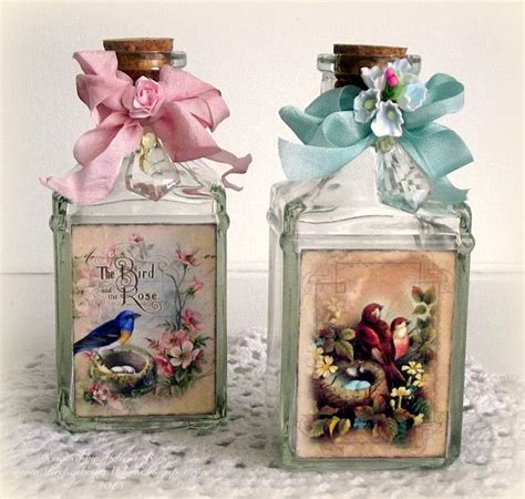 Decoupage Glass Jars - creating from the decoupage on glass crafty