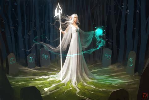 elves fantasy art magic white dress forest wallpapers