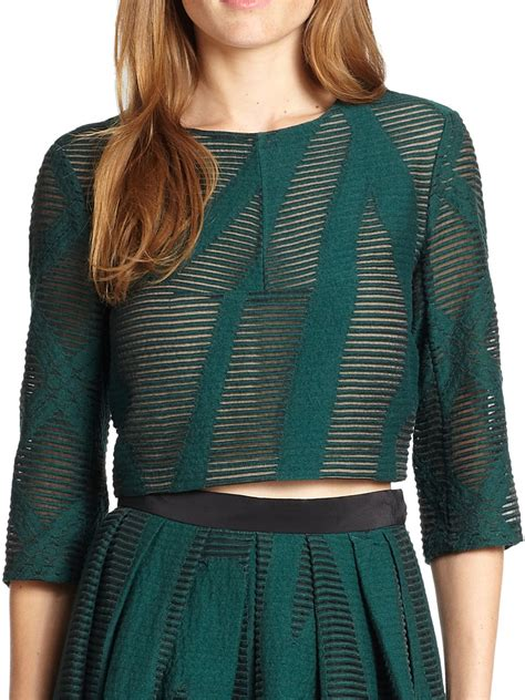 lyst tibi abstract patterned sheer burnout cropped top
