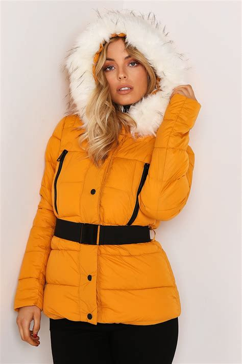 Sale E Buty White Jacket Only mustard white belted puffer jacket with faux fur