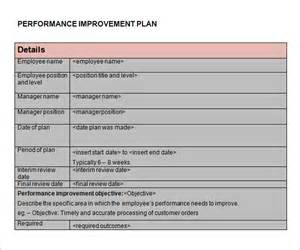 Plan For Improvement Template by Performance Improvement Plan Template 9