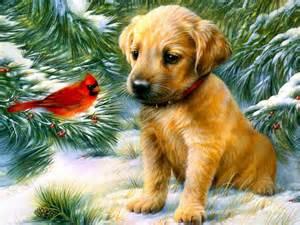 Winter friends cardinal puppy tree cute art hd wallpaper