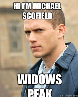 Prison Break Memes - hi i m michael scofield widows peak prison break quickmeme