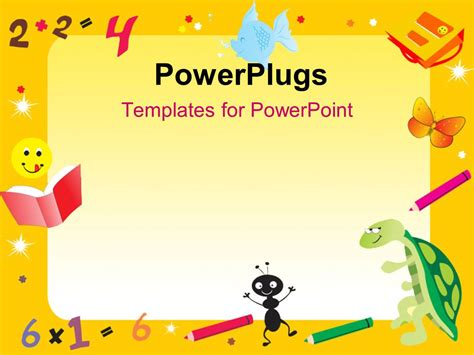 powerpoint templates numbers free powerpoint template yellow abstract frame for kids with