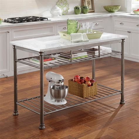 marble topped kitchen island home styles powder coated steel kitchen island with marble