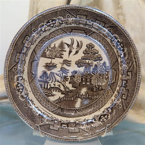 brown willow pattern plates a fine set of nine antique brown willow plates 19th