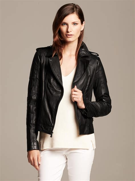 black moto jacket banana republic black leather moto jacket in black br