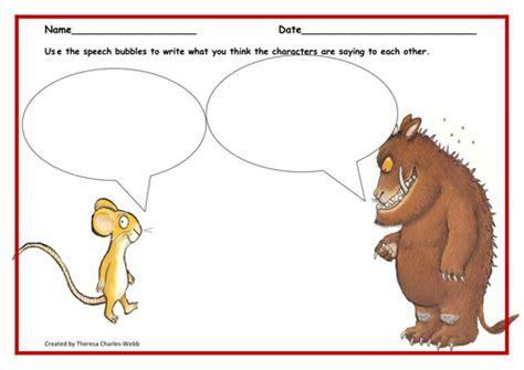 gruffalo writing paper gruffalo speech bubbles by thercharl teaching resources