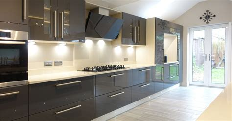 Grey Gloss Kitchen Cabinets by Contemporary Gloss Grey Kitchen Design From Premier