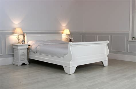 White Wooden Sleigh Bed New Solid Mahogany White Sleigh Bed Size King Size Egb59