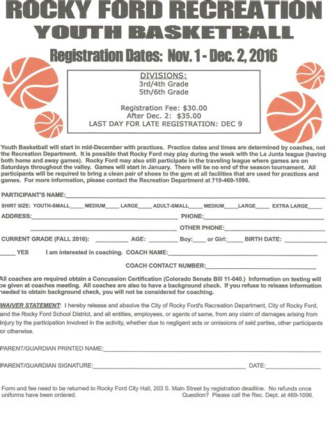 Youth Basketball Registration Form Rocky Ford Co Basketball Registration Template