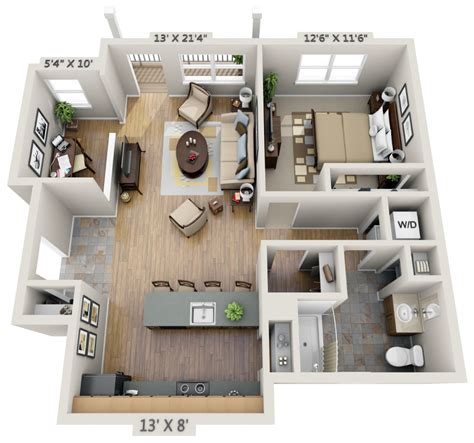 One Bedroom 3d Floor Plan Net Zero Village House Plans 1 Bedroom Apartt 3d Floor