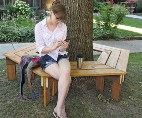 diy tree bench 40 diy backyard ideas on a small budget