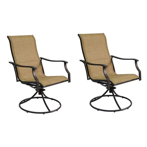 Patio Chairs Swivel Shop Garden Treasures Set Of 2 Eastmoreland Textured Brown Sling Steel Swivel Patio Dining