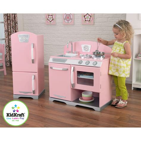 kidkraft 2 pink retro kitchen and refrigerator