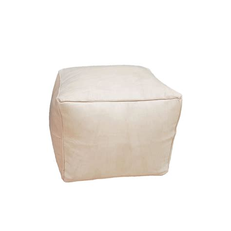 Beige Leather Ottoman Leather Pouf Ottoman Beige Leather Cube Big