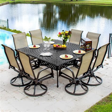 8 Person Patio Table Bay 8 Person Sling Patio Dining Set With Swivel Rockers And Square Table By Lakeview