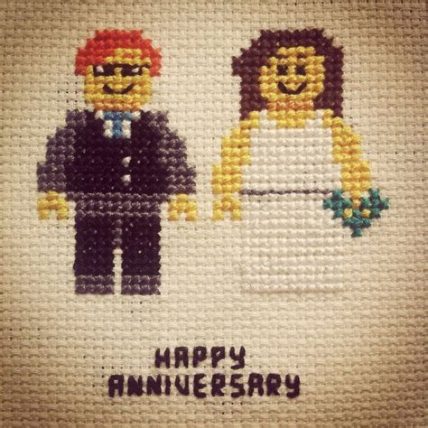 2nd Wedding Anniversary (Cotton)   Lego Cross Stitch
