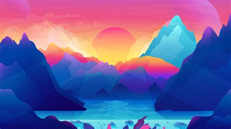 colorful sun wallpaper sun mountains gradient colorful illustration
