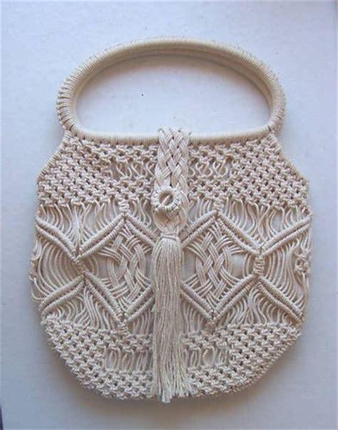 about macrame cara merajut motif pagar macrame bag vintage beige macrame handbag purse preowned macrame