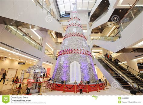 christmas tree in shopping mall editorial photo image
