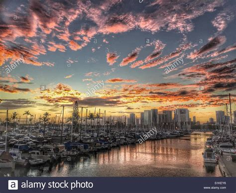 boat mooring oahu sunset on marina stock photos sunset on marina stock