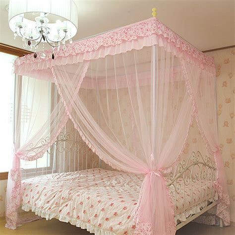 Pink Canopy Bed Pink Luxury 4 Post Lace Bed Canopy Frame Set Mosquito Net New Ebay